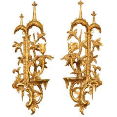 Pair of Antique Chinese Chippendale Period Giltwood Wall Lights, circa 1755