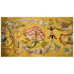 18th Century Silk Embroidered Panel.