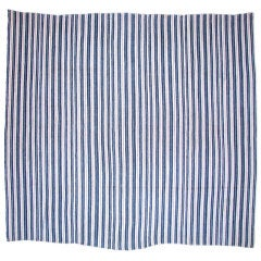 White Cotton Cover in Indigo Color Stripes.