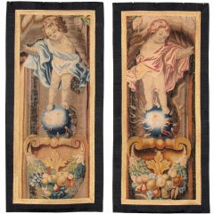 A Pair Of 17th Century Brussels Tapestry Borders, Reduced.