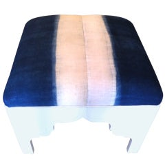 Custom Upholstered Fez Ottoman in Antique Asian Fabric