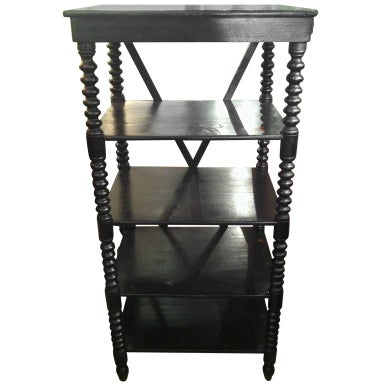 Black Painted Shelf with Floral Detail