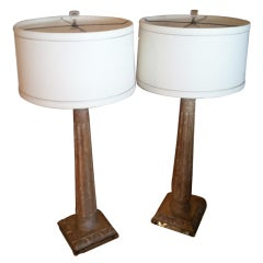 Pair of Arundel Hard Carved Solid Wood Lamps with Lucite Base
