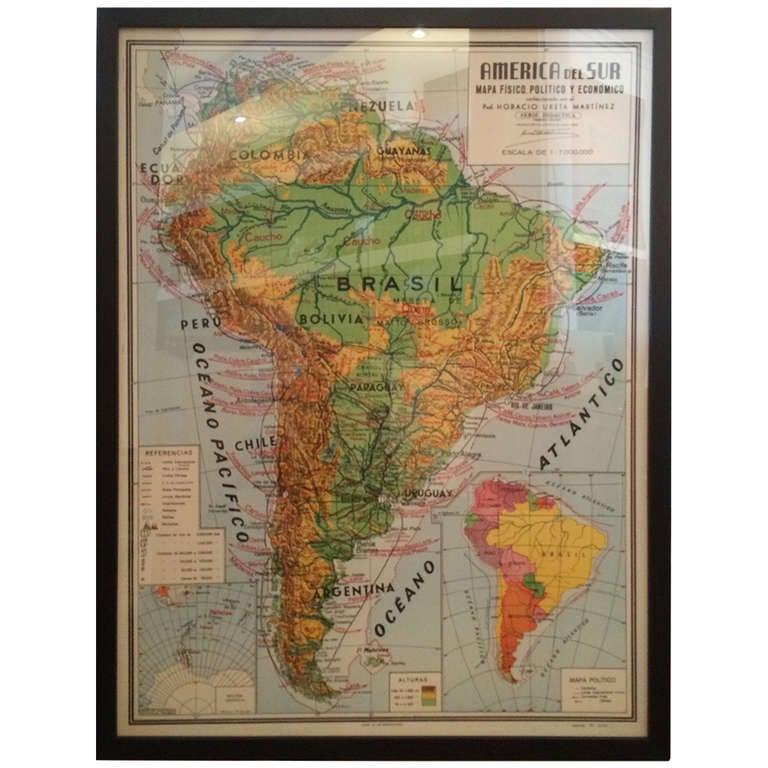 America Del Sur Map at 1stdibs