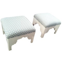 Custom Upholstered Fez Ottomans in Schumacher Betwixted