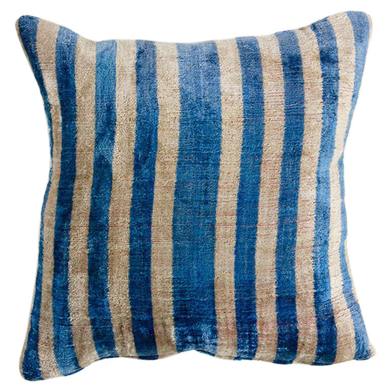 Blue Chenille Throw Pillows : Blue Striped Chenille Pillow at 1stdibs