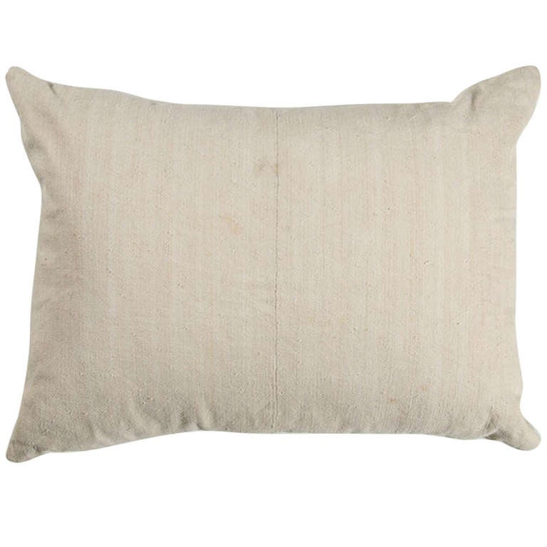 Antique French linen pillow, 18th century