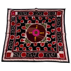 Vintage Embroidered Suzani Throw with Sequins