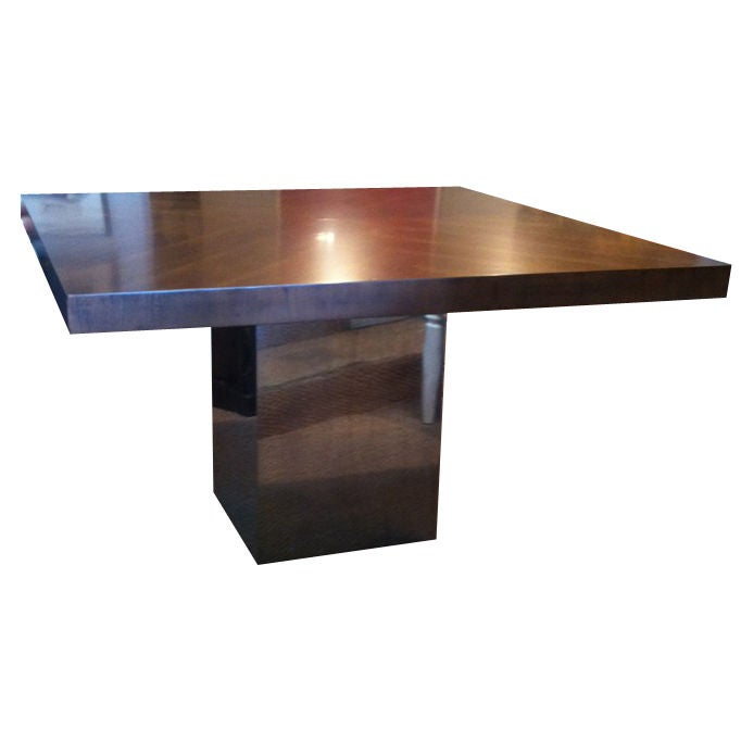 Milo Baughman Chrome And Wood Dining Table At 1stdibs