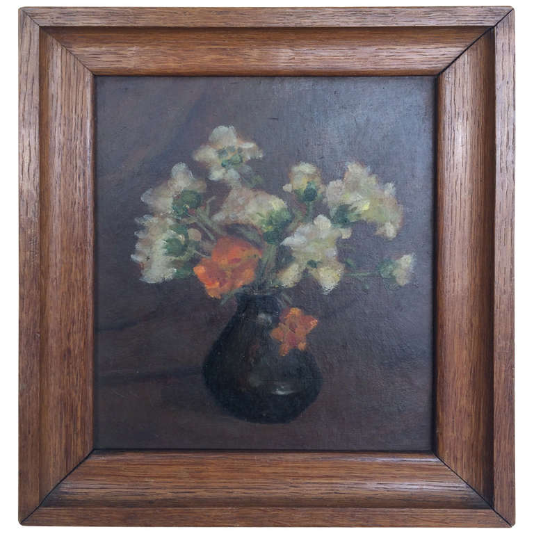 Small Vintage Oil Painting Of Flower Vase On Board In Original Frame