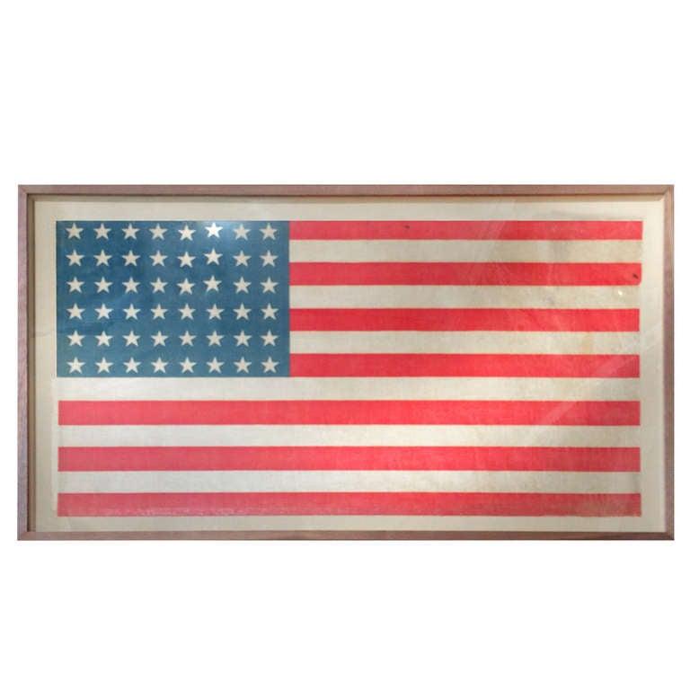 Small Vintage American Flag Framed at 1stdibs