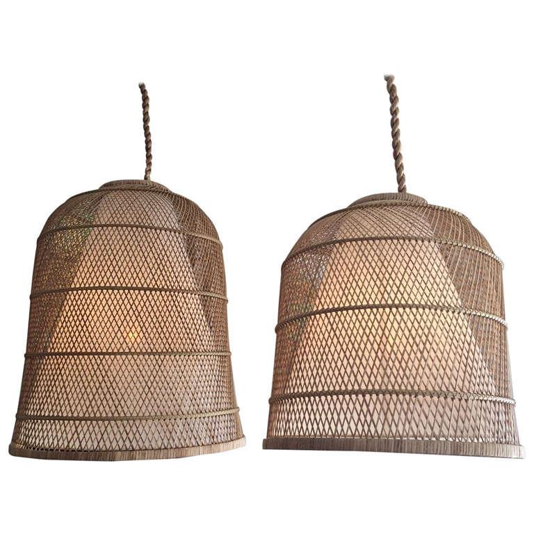 Large Basket Hanging Lamp At 1stdibs