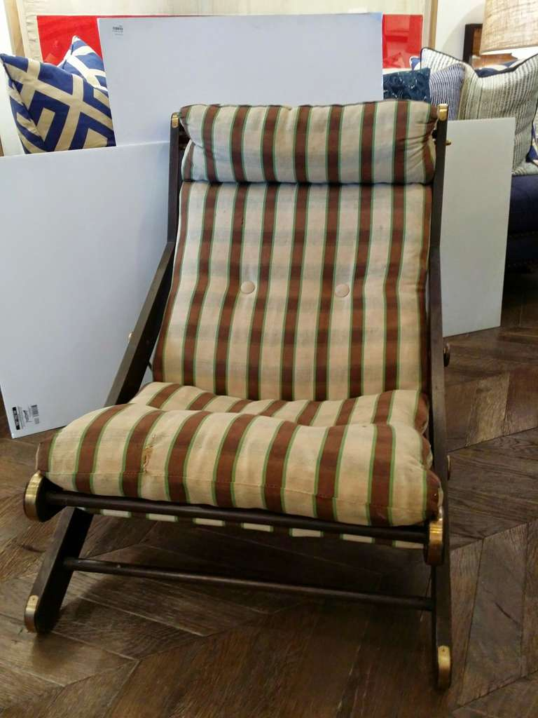 Pair of Folding Chairs with Brass Detail 3