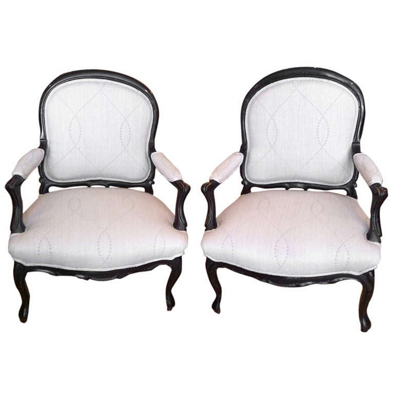 Pair of reupholstered french chairs at 1stdibs for Reupholstered furniture for sale