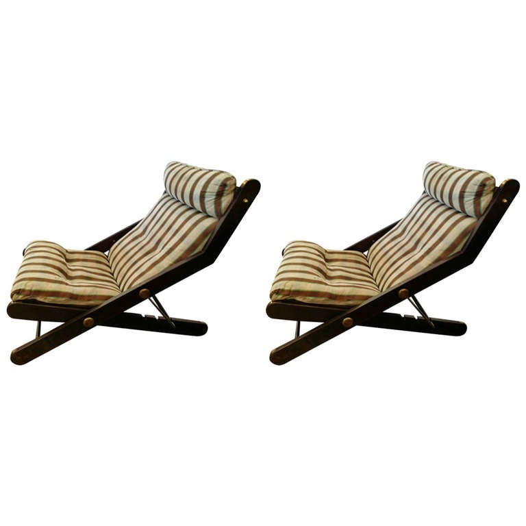 Pair of Folding Chairs with Brass Detail 1