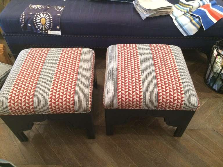 Red and Blue Fez Ottoman by Nathan Turner upholstered in Carolina Irving Fabric.