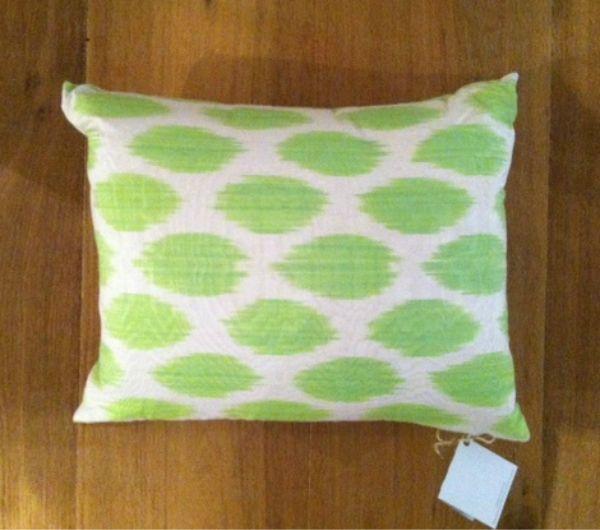 Green silk ikat pillow.Zippered opening.