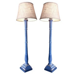 Pair of Painted Candlesticks Electrified into Lamps
