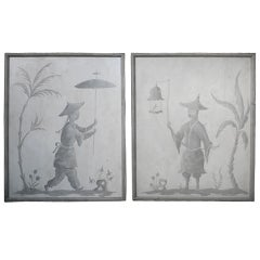 "Pair of Hollyhock Chinoiserie Panels Painted ""en Grisaille"""