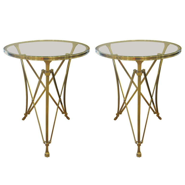 2 French Mid-Century Modern Neoclassical Style Brass End Tables, Maison Ramsay