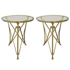 2 French Mid-Century Brass Modern Neoclassical End Tables Attr. to Maison Ramsay
