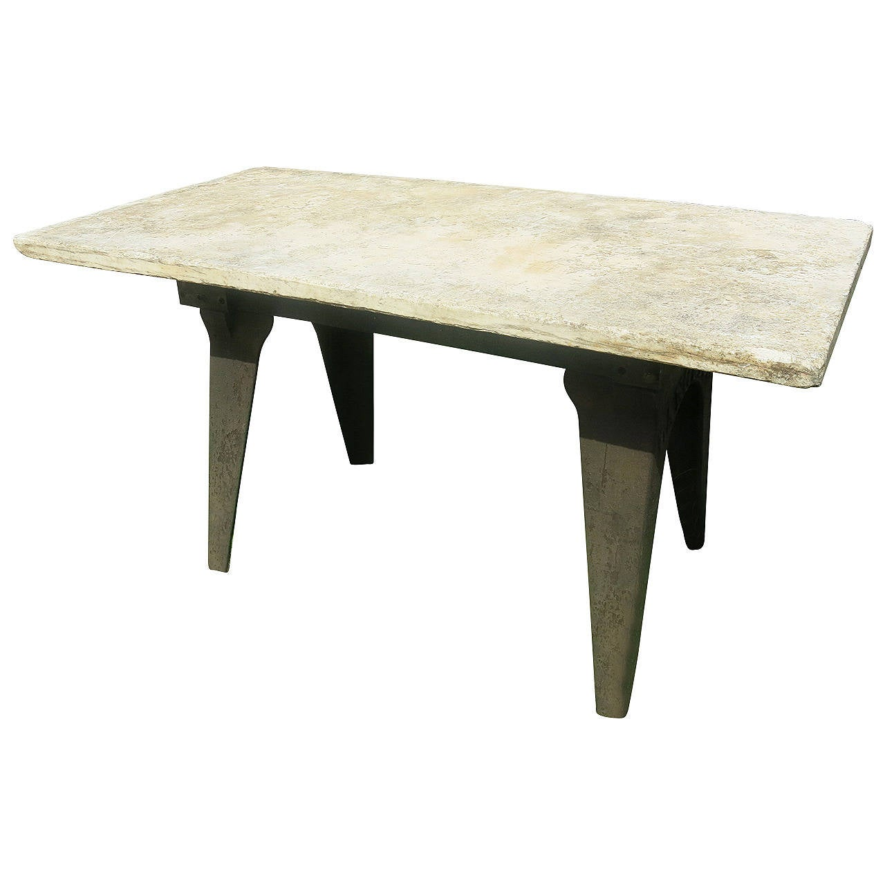 Industrial Marble Top Table At 1stdibs