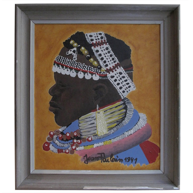 1940s French Massai Warrior Oil Painting in Original Frame by Jean Poulain