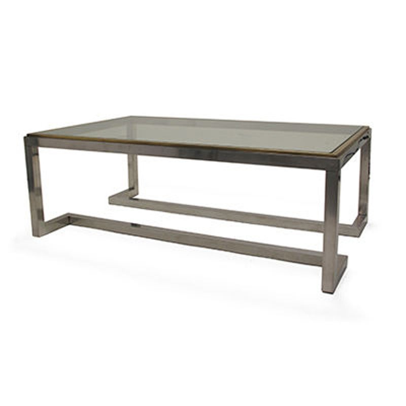 Rectangular Chrome And Brass Coffee Table With Inverted Legs For Sale At 1stdibs