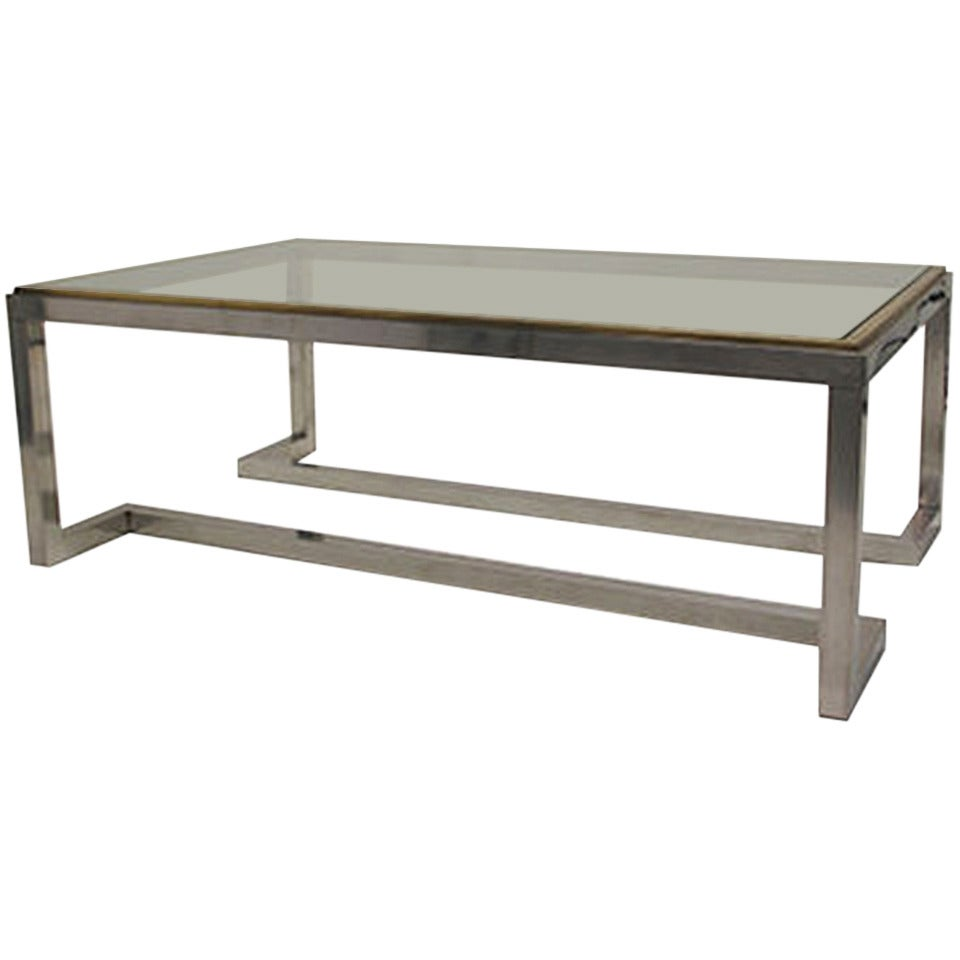 Vintage rectangular chrome and brass coffee table with for Coffee tables 80cm wide