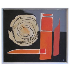 1960s Abstract Oil on Canvas in Black and Orange
