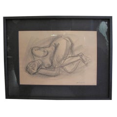 Charcoal Drawing of a Reclining Woman