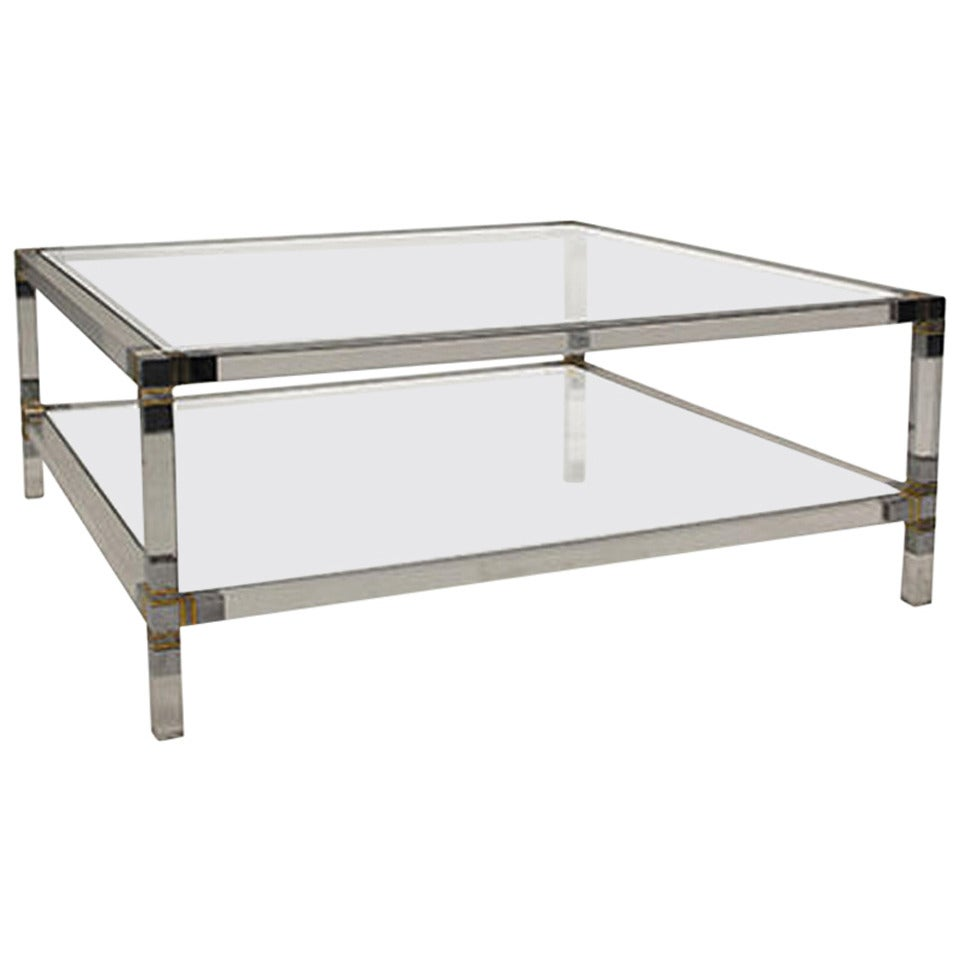 Vintage Two Tier Square Lucite Coffee Table At 1stdibs