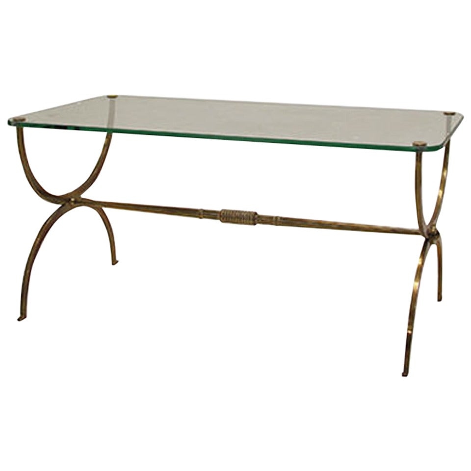 Vintage Brass Curved X Base Coffee Table At 1stdibs