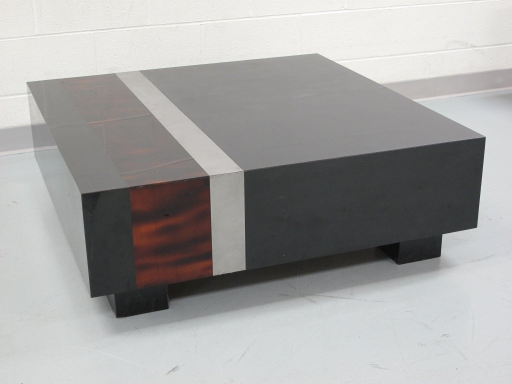 Square Low Black Lacquer And Faux Tortoise Coffee Table At 1stdibs