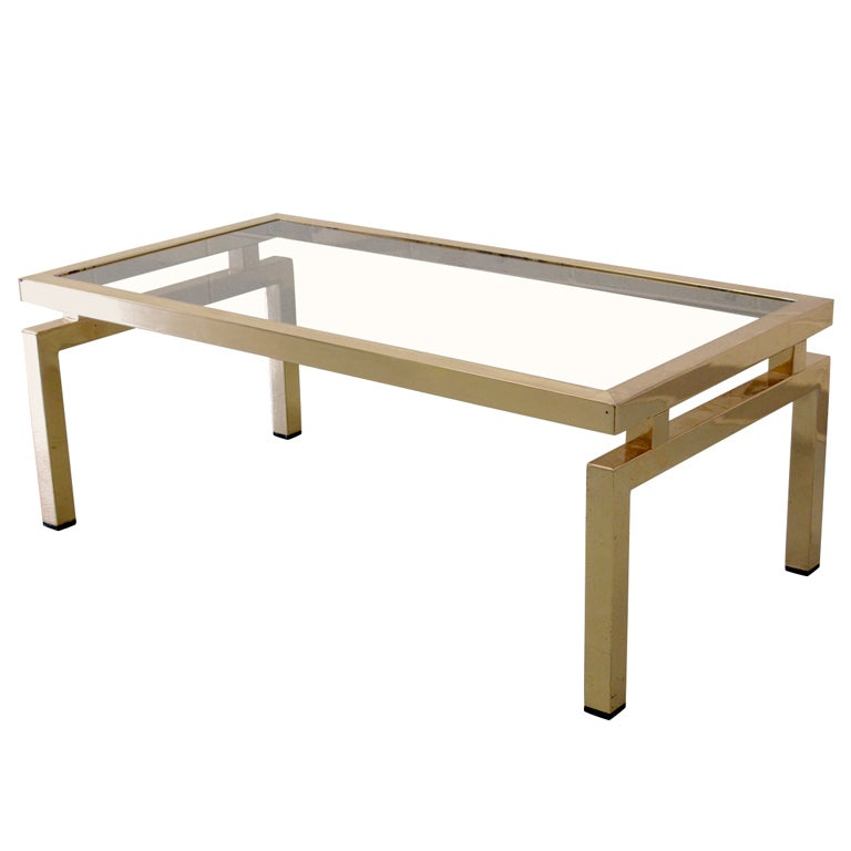 Brass rectangular jansen style coffee table with glass top for Rectangular coffee table with glass top