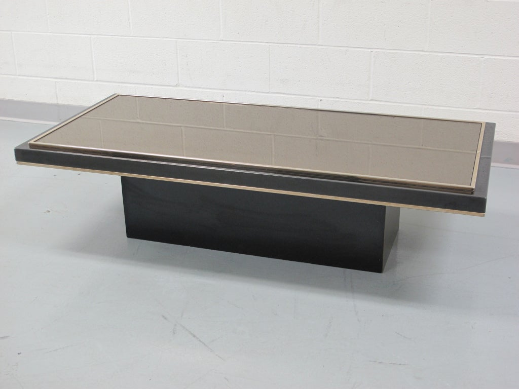chrome coffee table with 23k gold trim and mirrored top at 1stdibs