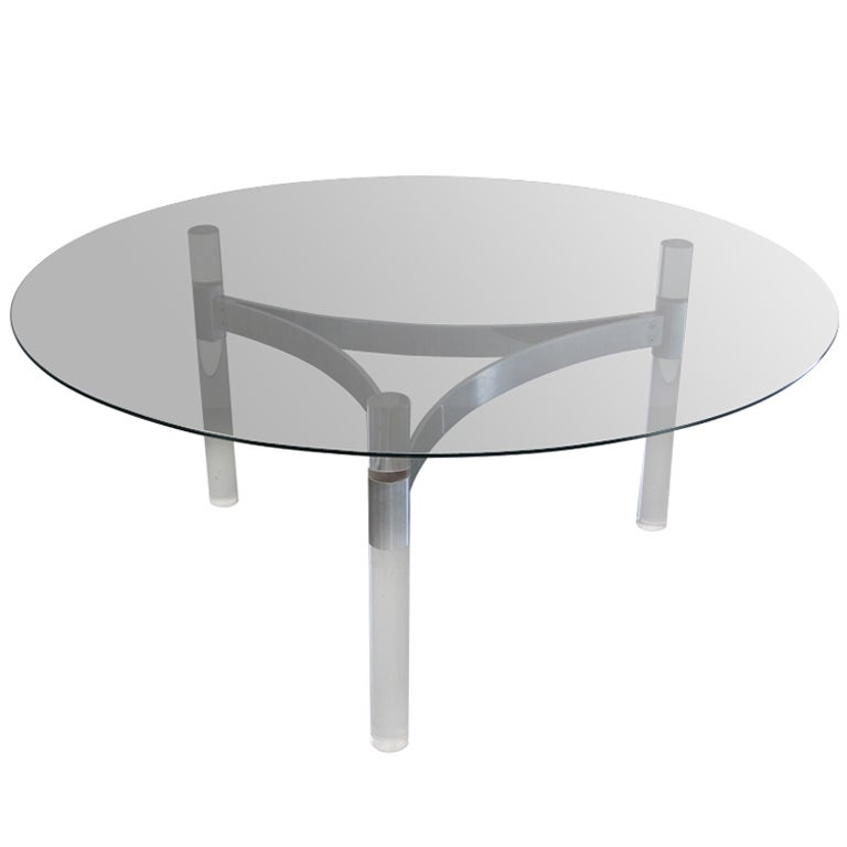 Chrome Band And Lucite Column Tripod Base Coffee Table At