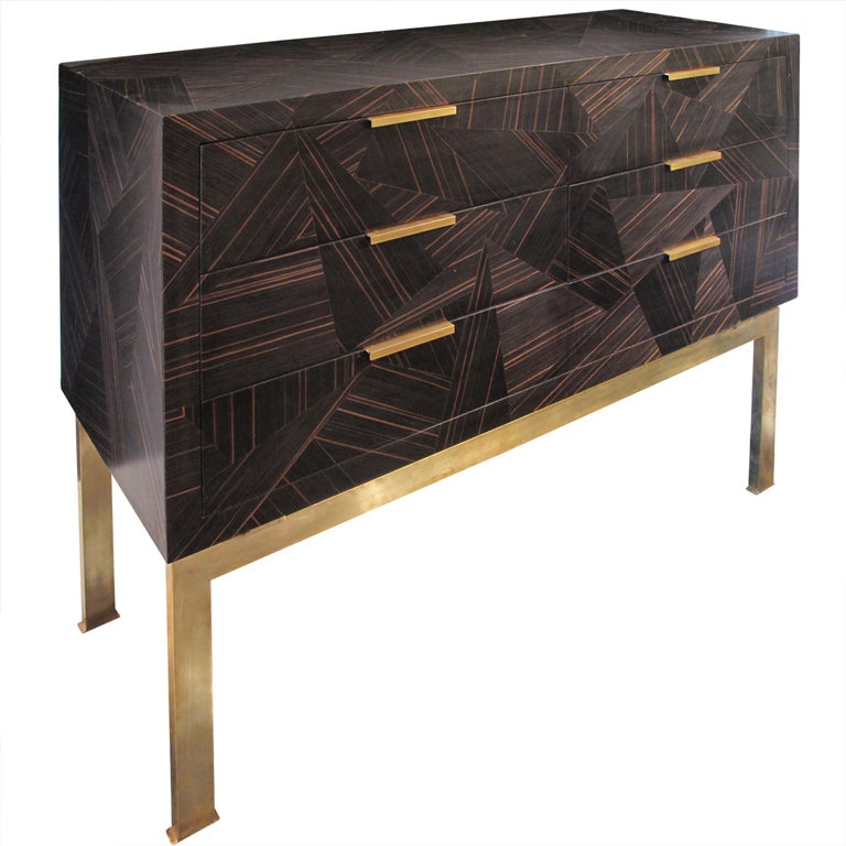1960 39 S Italian Chest Of Drawers With Patchwork Zebra Wood
