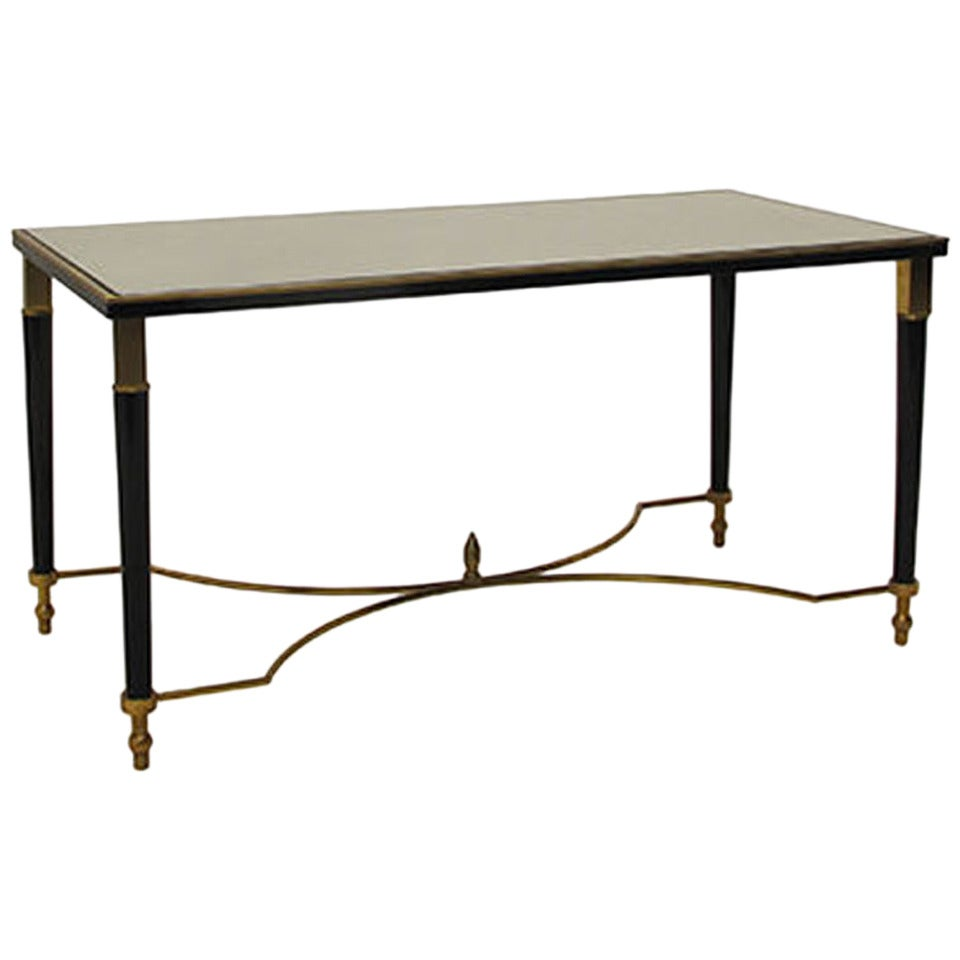Vintage Rectangular Coffee Table With Black And Brass Detailing At 1stdibs