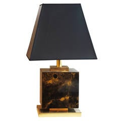 1970s Brown and Gold Cube Lamp