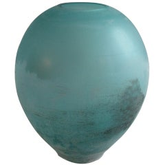Monumental Cenedese Scavo Vase in Turquoise Blue Glass