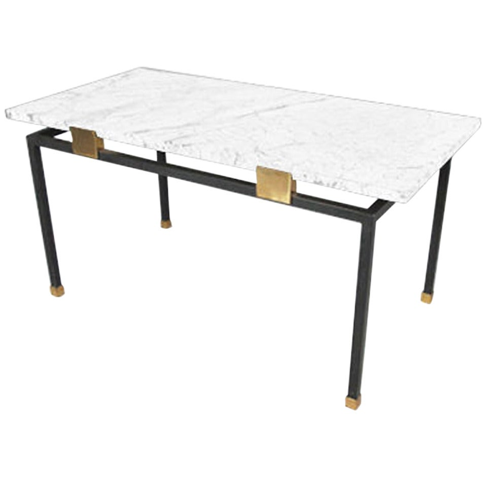 1950s iron coffee table with white marble at 1stdibs White marble coffee table