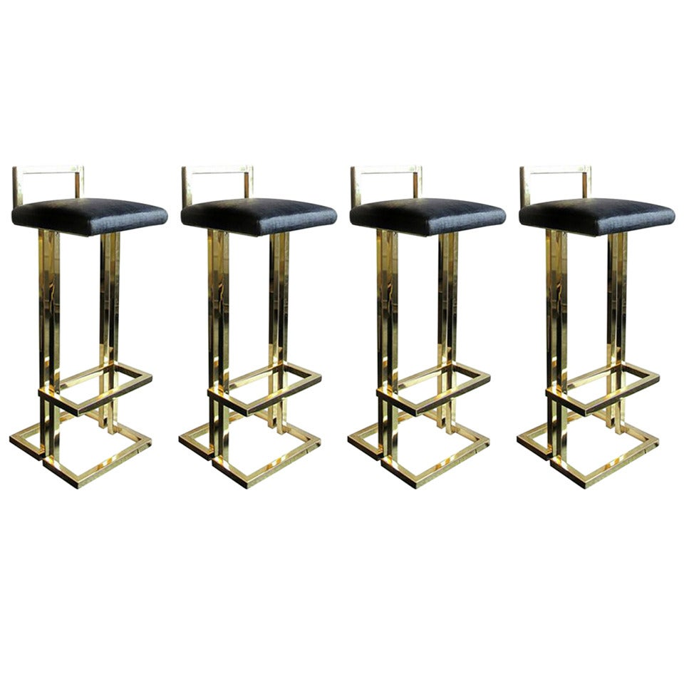 1970s Brass Bar Stools With Low Back At 1stdibs