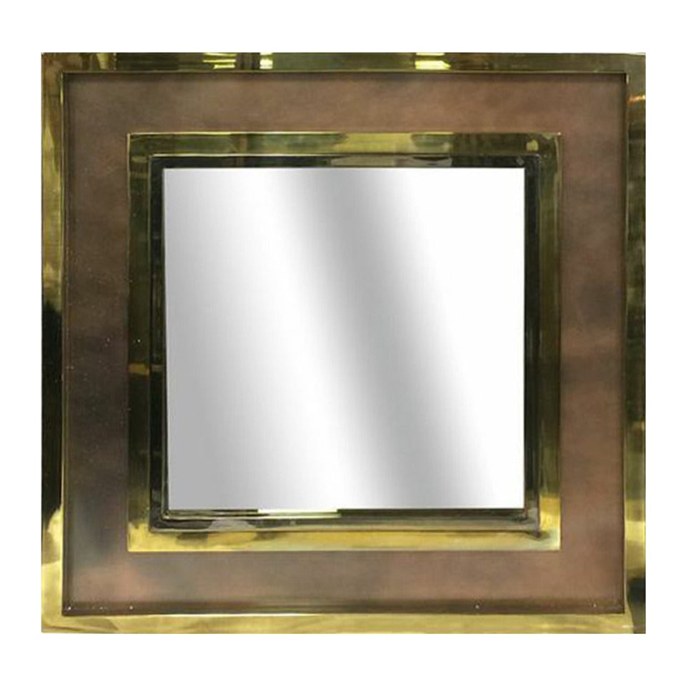1970s large square brass and copper mirror at 1stdibs for Large square mirror