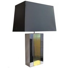 Chrome Block Vintage Table Lamp with Brass Stripe