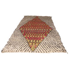 Vintage Berber Rug with Large Red and Gold Diamond Motif