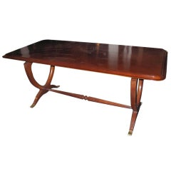 Fine Dining Table in Walnut with Lyre Motif