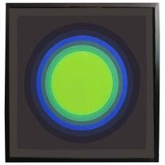 1970s Abstract Silkscreen in Circular Blue and Green Tones by Horacio Garcia