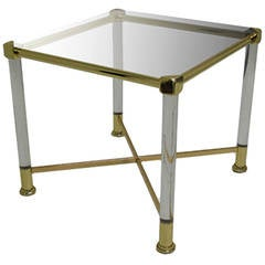 1970s French Neoclassical Brass and Plexi Side Table
