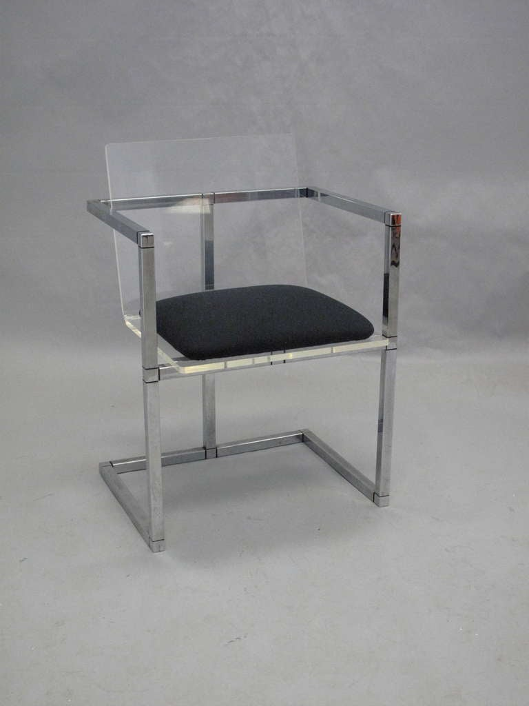 Vintage Square Lucite and Chrome Desk Chair at 1stdibs